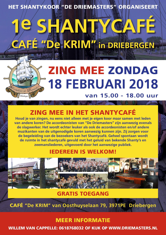 Poster Shantycafe Zondag 18 Februari 2018.